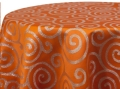Rental store for METALLIC SCROLL ORANGE SILVER LINENS in Denver NC